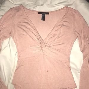 Forever 21 Baby Pink Knot Long Sleeve Bodysuit